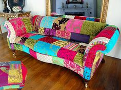 I have an old couch that I would love to transform into this!! Funky Sofa, Funky Chairs, Sala Vip, Diy Sofa, Couch Furniture, Funky Furniture, Sofa Chair, Bohemian Furniture, Patchwork Sofa