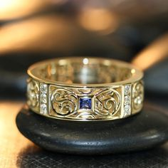 Celtic Knot Wedding Band in 14k Yellow Gold Princess Cut Sapphire and Diamond Wedding Ring for Men His Sapphire Ring rings