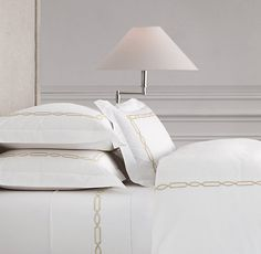 Italian Fretwork Bedding Collection in Dune from RH - A variation on the traditional hotel bedding - I ordered samples.