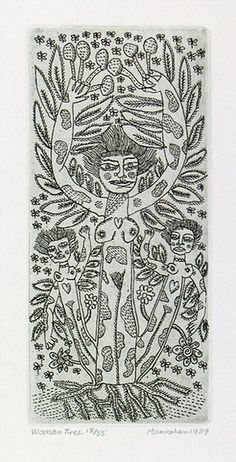 Artist: HANRAHAN, Barbara   Title: Woman tree   Date: 1989   Technique: etching, printed in black, with plate-tone, from one plate