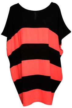 Black Striped Bright Orange-pink Dress. Description Bright orange-pink dress, featuring a round neck, batwing sleeves styling, black stripes thoughout. Fabric Cotton;Chiffon Washing Cool hand wash with similar colours, cool iron, dry flat, do not tumble dry, do not bleach. #Romwe