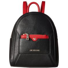 LOVE Moschino Detachable Pocket Backpack (Black/Red) Backpack Bags ($245) ❤ liked on Polyvore featuring bags, backpacks, mini backpacks, vegan leather backpack, mini bag, top handle bags and miniature backpack