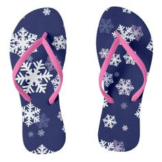 1dc7ae03639c Blue and White Snowflakes On Dark Blue Ground Flip Flops  shoes  tees   tanktop