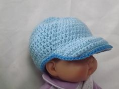 Pale blue baseball hat by NutHouseKnots on Etsy