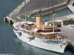 """""""HDMY DANNEBROG"""" (A540) (257.4') Danish Royal Yacht Built 1932 - Now Serves as the Official and Private Residence for Queen Margrethe II of Denmark, the Prince Consort, and Members of the Royal Family when They are on Official Visits Overseas and on Summer Cruises in Danish Waters. When at sea, it also Participates in Surveillance and Sea-Rescue Services."""