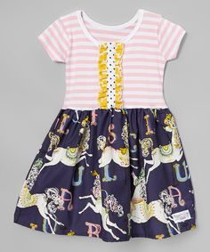 Look at this Baby and Me Designs Indigo & Pink Carousel Dress - Infant, Toddler & Girls on #zulily today!