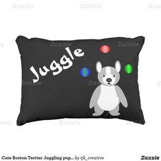 Cute Boston Terrier Juggling puppy Decorative Pillow