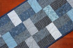 """Navy Blue Quilted Table Runner 30"""" x 12"""""""