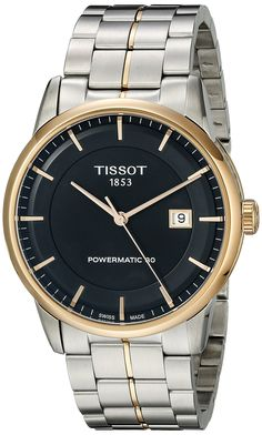 Tissot Men's T0864072205100 Luxury Analog Display Swiss Automatic Two Tone Watch. Tissot Powermatic 80 black dial stainless steel men's watch. Luminescent hands and markers. Date display at the 3 o'clock position. Automatic movement with 80 hour power reserve. Scratch resistant sapphire crystal. Pull/push crown. Skeleton case back. Swiss-automatic movement. Case diameter: 41mm. Water resistant to 165 feet.