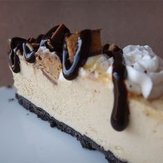 MySweetCreations Peanut Butter Cookie Pie | Top this frozen pie with peanut butter cups, whipped cream, chocolate, and caramel syrup topping.
