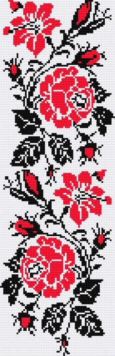 UKRAINIAN EMBROIDERY PATTERN . Floral design in the Ukrainian motif with roses. The red colour means love and black means sorrow...