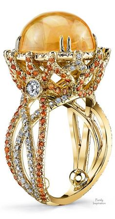~Erica Courtney Crossover Ring ~ Mexican Fire Opal, Orange Sapphires, Diamonds | House of Beccaria