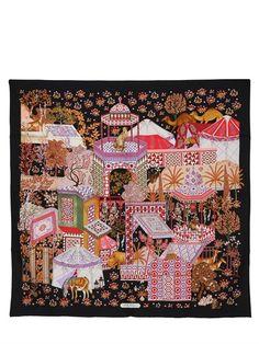 Ferragamo,  Moroccan-print, silk twill scarf, 34 in. x 34 in.