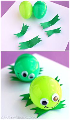 Silly Plastic Easter Egg Frog Craft for Kids | CraftyMorning.com