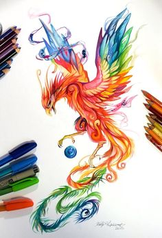 Regal Phoenix by Katy Lipscomb [Colour pencils and markers] Pheonix tattoo idea! face more shadowed with quote above Phoenix Drawing, Phoenix Art, Phoenix Painting, Tatoo Art, Body Art Tattoos, Tatoos, Wing Tattoos, Tattoo Bird, Color Tattoo