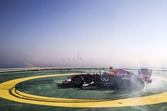 Infinity F1 Red Bull in Dubai helipad doing donuts