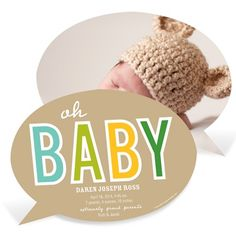 Baby Talk -- Custom Photo Birth Announcements PearTree Greetings