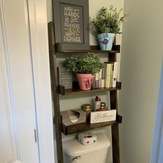 This listing is for an over-the-toilet ladder shelf. Its a great space saver. We do have some Dark Walnut stained ladder shelves that ship within 1 business day that you can view here: Over The Toilet Ladder, Over Toilet, Minwax Stain, Bathroom Interior, Bathroom Storage, Dark Walnut Stain, Cordless Drill, Ladder Bookcase, Easy