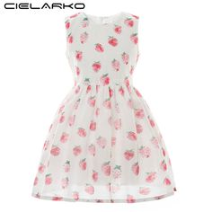 3e82a2ef663 Cielarko Kids Girls Dress Baby Pink Strawberry Casual Sundress Summer Fruit  Princess Party Frock Cartoon Design Short Dresses 2018 from seadragontech