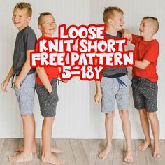 This free shorts sewing pattern is a perfect summer sewing project. Comfortable loose fit knit shorts for boys {or girls} make fun play clothes. This free kids shorts pattern is a must sew free pdf pattern. sizes 5-18Y Knitting For Kids, Sewing For Kids, Free Sewing, Sewing Diy, Sewing Tutorials, Sewing Ideas, Pajama Pants Pattern, Pants Pattern Free, Free Pattern