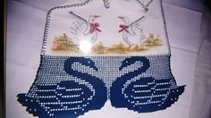 Barradinho de Crochê Cisne azul