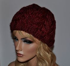 Cable Knit Hat, Burgundy Wool Women's Hat, Handmade slouchy, HTNO. 5
