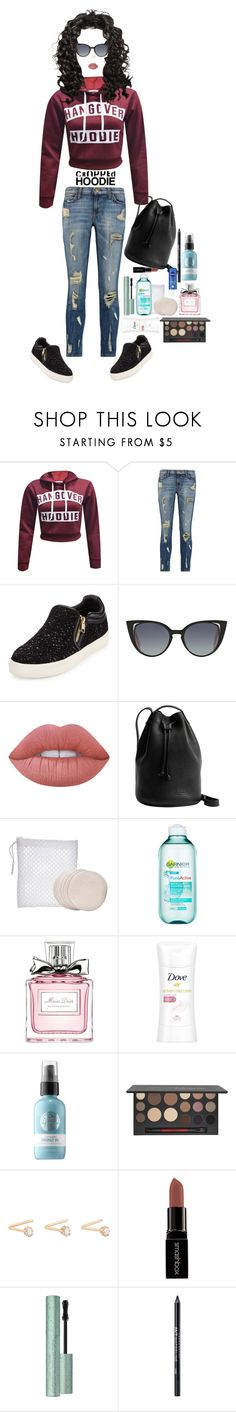 """""""Untitled #406"""" by lala0386 ❤ liked on Polyvore featuring Current/Elliott, Ash, Fendi, Lime Crime, BAGGU, Nivea, S.W. Basics, Garnier, Christian Dior and Dove"""