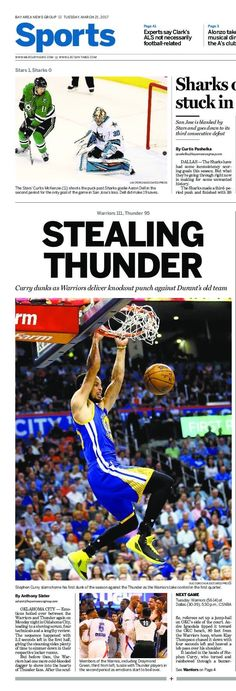 Steph Curry, Klay Thompson demolish Westbrook and Thunder | OKLAHOMA on March 20, 2017  Kevin Durant sat on the bench as Warriors stretched their win streak to four games with 111-95 victory over OKC on Monday. Klay Thompson and Stephen Curry combined for a scintillating shooting display, leading all scorers with 34 and 23 points. Splash Brothers notched seven three-pointers each marking the third time in their careers that they've done so in the same game. Golden State improves to 56-14.