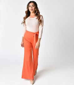 Unique Vintage 1970s Style Red Bell Bottom Pants