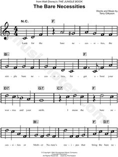 """The Bare Necessities"" from 'The Jungle Book' Sheet Music for Beginners - Download & Print"