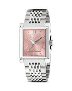 Gucci G-Timeless Rectangle Watch with Stainless Steel bracelet, 26mm