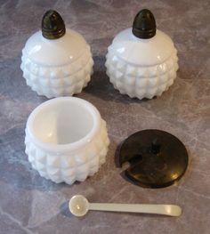 Fenton Milk Glass Salt and Pepper Set with condiment bowl and spoon on Etsy, $18.00