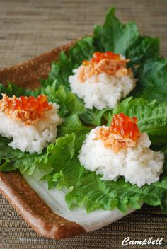 Casual Sushi at Home - Salmon and Ikura Roe Rice on Japanese Shiso Basil Leaves