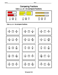 free worksheets for comparing or ordering fractions teaching stuff pinterest ordering. Black Bedroom Furniture Sets. Home Design Ideas