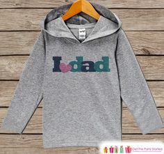 Girls Father's Day Hoodie - Grey Kids Hoodie - I Love Dad - Toddler Girls Happy Fathers Day Outfit - Novelty Kids Fathers Day Gift Idea