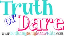 Truth or Dare Questions and game rules for kids, tweens and teens.  Free Truth questions and dare ideas to print out.  Rated G http://www.birthdaypartyideas4kids.com/truth-or-dare-game.htm