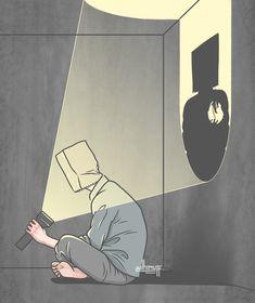 Sad Anime, Anime Art, Sun Projects, Satirical Illustrations, Deep Art, Arte Obscura, Sad Art, Black Wallpaper, Horror Art