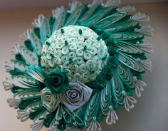 3D Quilling-green hat