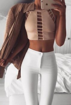 Summer Fashion Street Chic Outfit Sexy Hollow-out Nude Halter Crop Top
