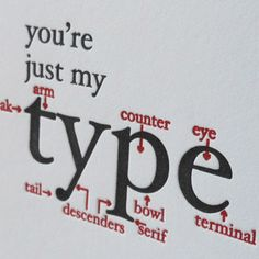 letterpress you're just my type greeting card by afavoritedesign