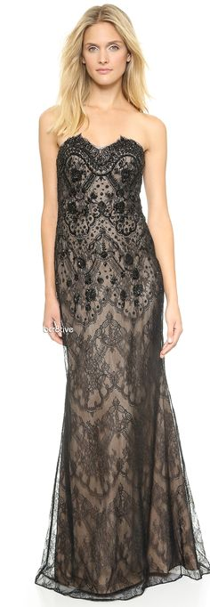 Notte by Marchesa Strapless Embroidered Lace Gown      jaglady