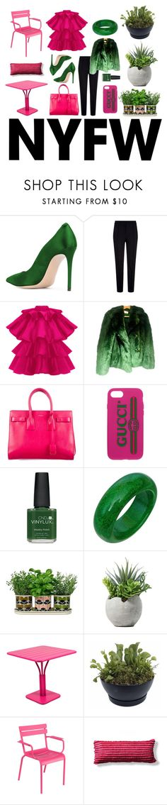 """Pink"" by cailo ❤ liked on Polyvore featuring Escada Sport, Yves Saint Laurent, Gucci, CND, Orla Kiely, Fermob, Frontgate, contestentry and NYFWHotPink"