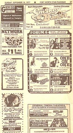 1977 Movie Drive-In Newspaper Ads Logan's Run, The Deep, Star Wars ... good stuff!
