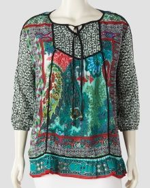 Women's Plus Size Multi-Print Split Neck Peasant Top