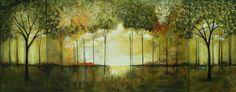 Paisaje abstracto bosque gran pintura original arte acrílico