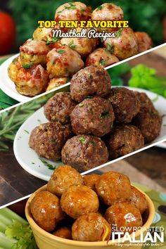 Top 10 All Time Favorite Meatball Recipes ~ Chicken meatballs, turkey meatballs, beef meatballs, and sausage meatballs. Stuffed with cheese, stuffed with bacon. You will find them all here! Yum looking forward to trying these! Meat Recipes, Appetizer Recipes, Chicken Recipes, Dinner Recipes, Cooking Recipes, Healthy Recipes, Recipies, Copycat Recipes, Drink Recipes
