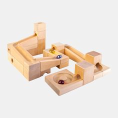 VARIS Kugelbahn Basis-Set, Holzkugelbahn mit 33 Teilen | Echtkind