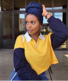 Get the most sought after handcrafted Head Wraps in the fashion industry. Hair Wrap Scarf, Hair Scarf Styles, Headband Styles, Curly Hair Styles, Natural Hair Styles, Baddie Hairstyles, Scarf Hairstyles, Black Women Hairstyles, Mode Turban