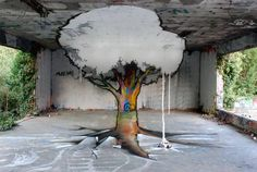 3 D art inside an abandoned building...