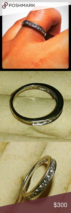 10KT Vintage Weeding Ring 14 diamonds Only Owner. This ring brought me a lot of happiness. We upgraded our rings. Now is time for another Lucky and georgeus lady to have it. It will bring so much joy to your life like it did with me.  Very classy and elegant. Perfect for a modern bride to be, for a wife looking to upgrade or just for fun and show off to your friends.😍😘  Weeding Ring  10KT. A Vintage solid white gold wedding band, 14 diamonds. Size: U.S 6 16.55mm. Jewelry Rings